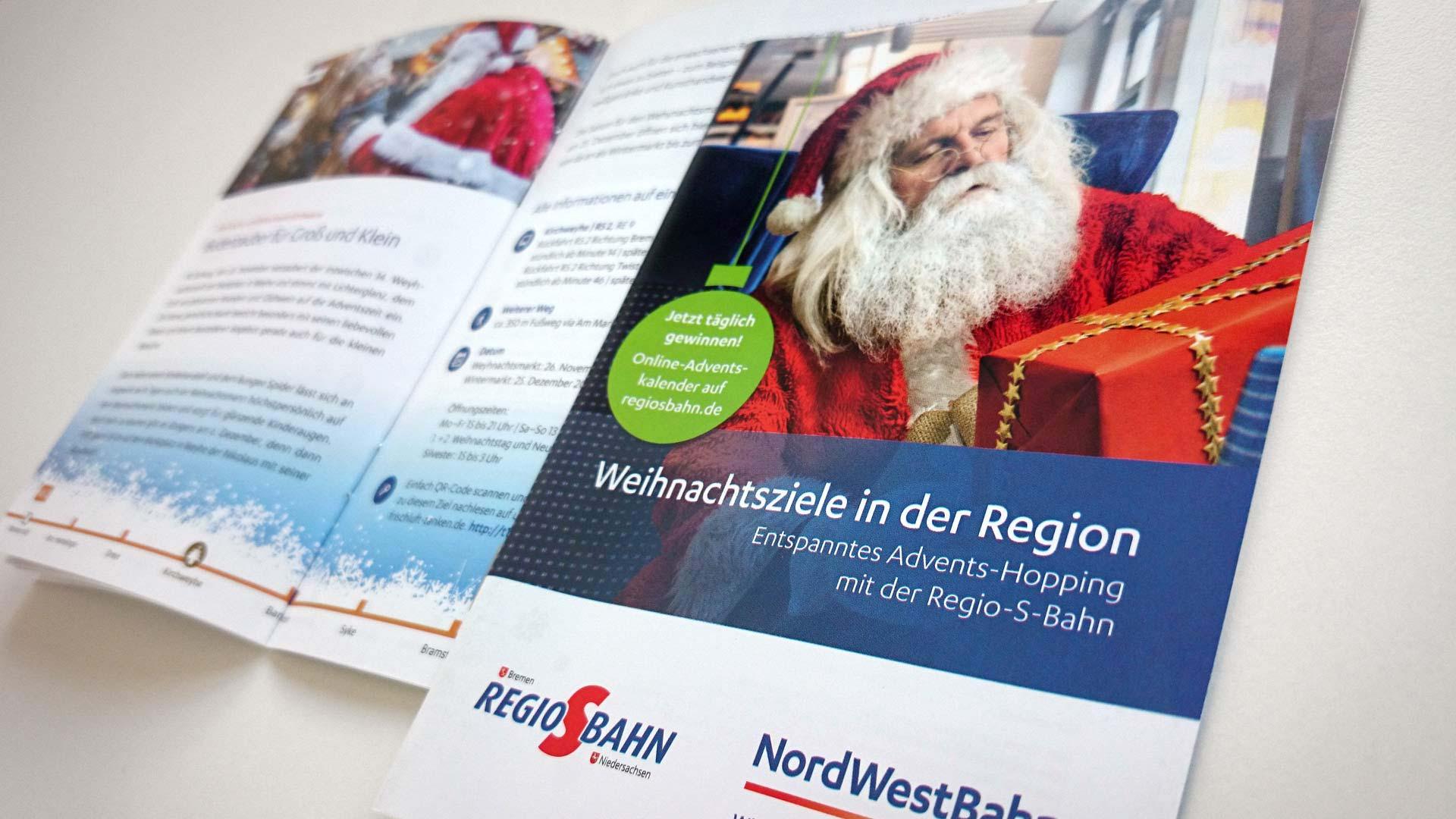 artventura-Projekt Weihnachtskampagne Regio-S-Bahn:Infobroschüre mit Weihnachtszielen der Region