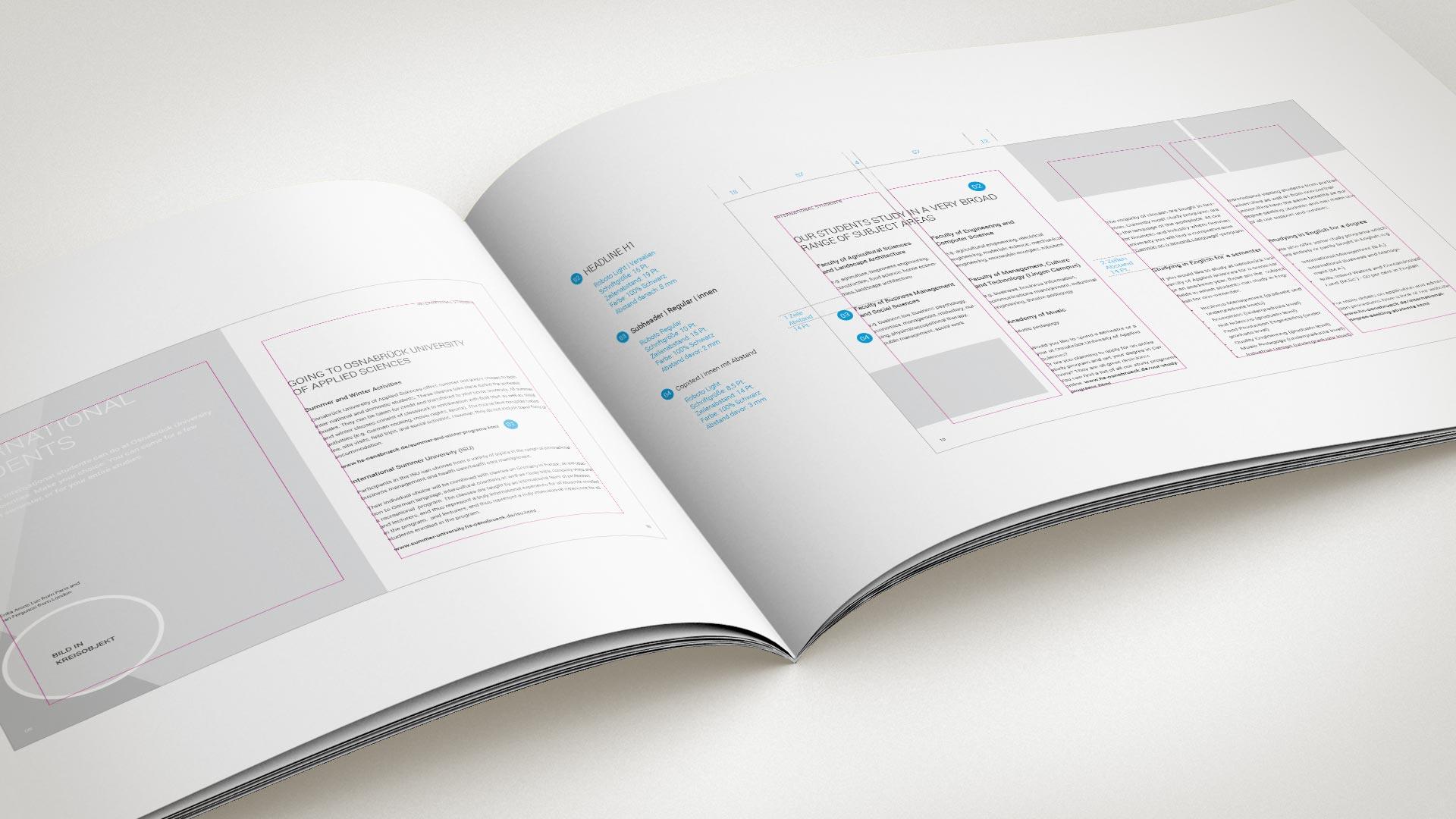 artventura-Projekt Corporate Design Entwicklung der Hochschule Osnabrück:Doppelseite des Design-Handbuches