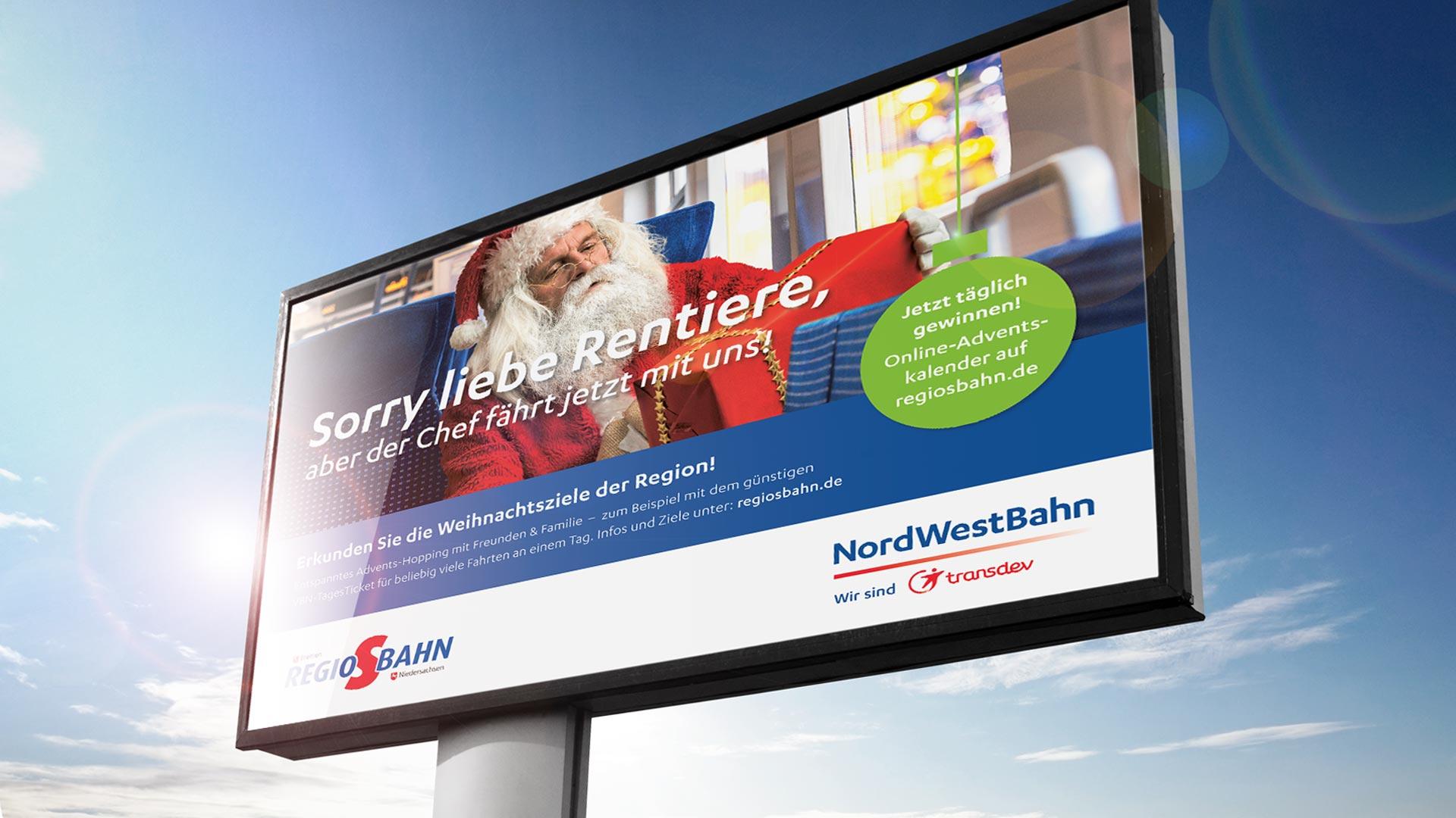 artventura-Projekt Weihnachtskampagne Regio-S-Bahn:Großflächenplakate in Bremen