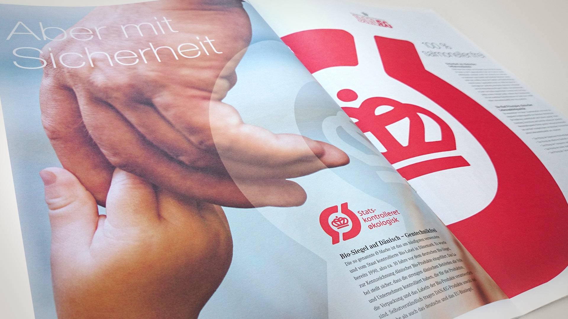 artventura-Projekt Print-Design für DANÆG A/S:Doppelseite einer Einkäufer- und Imagebroschüre im Format DIN A3