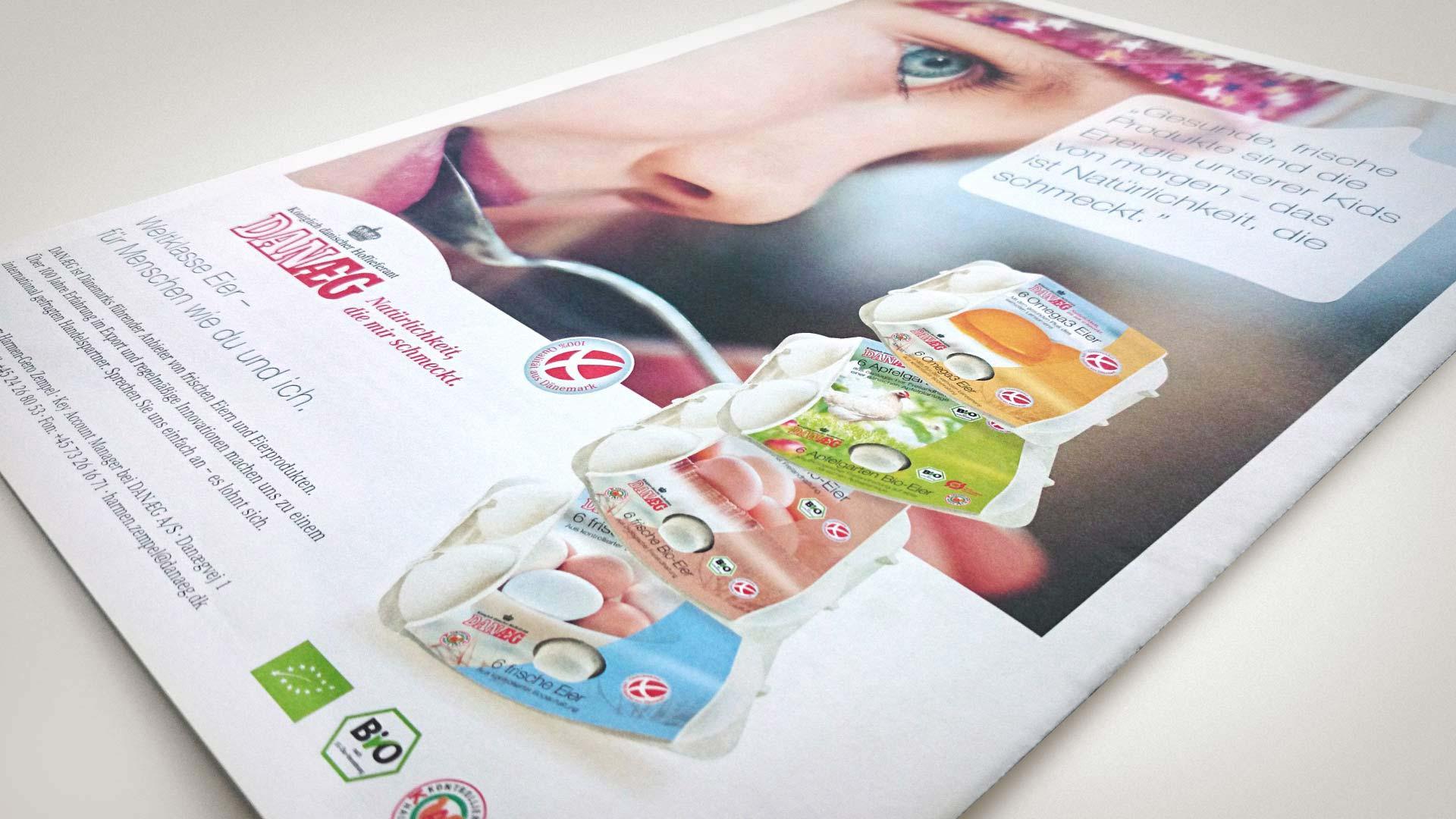 artventura-Projekt Print-Design für DANÆG A/S:Rückseite einer Einkäufer- und Imagebroschüre im Format DIN A3