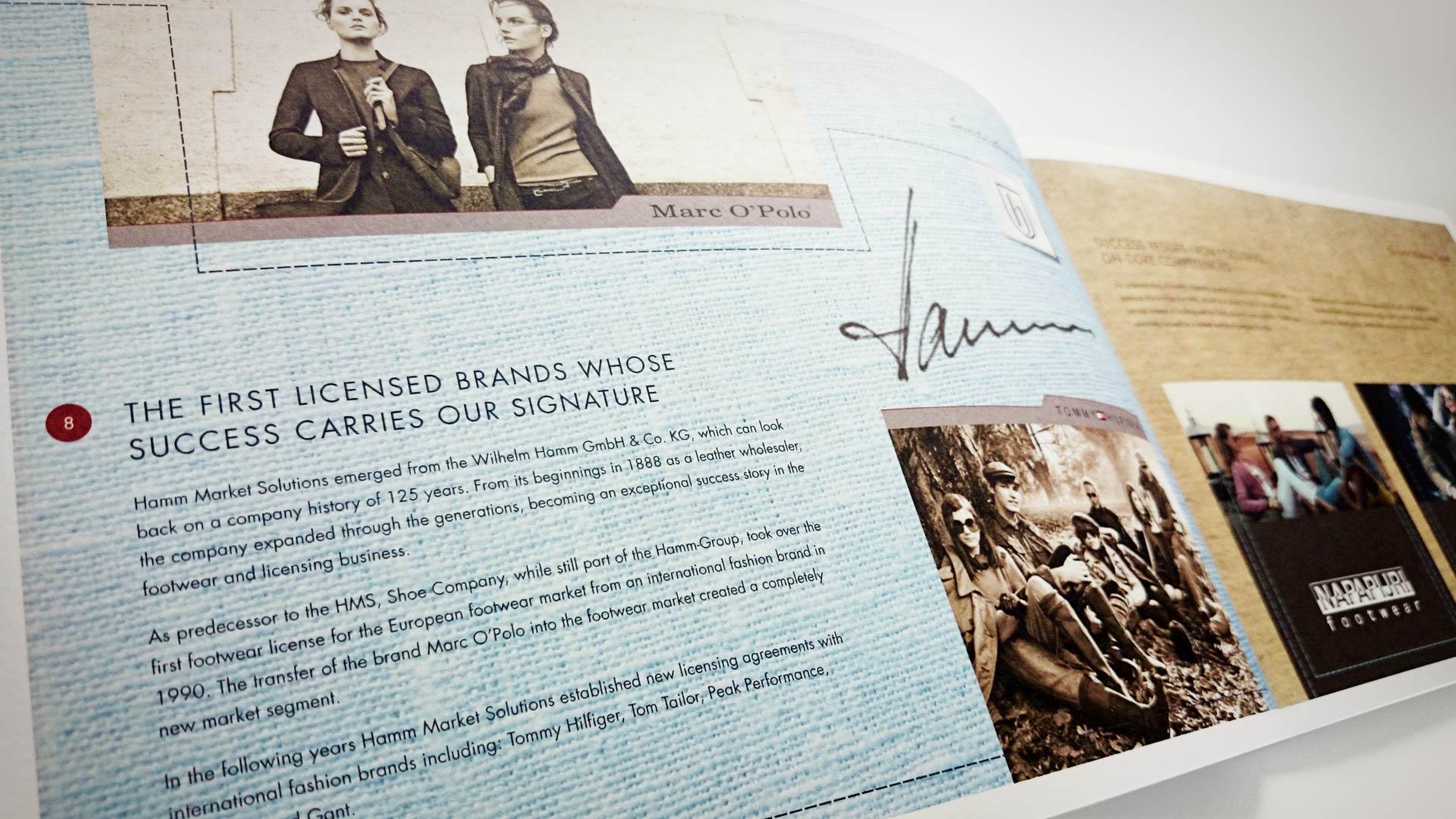 artventura-Projekt Printdesign für hamm |market solutions for branded footwear: Doppelseite einer zweisprachigen Unternehmens- und Imagebroschüre