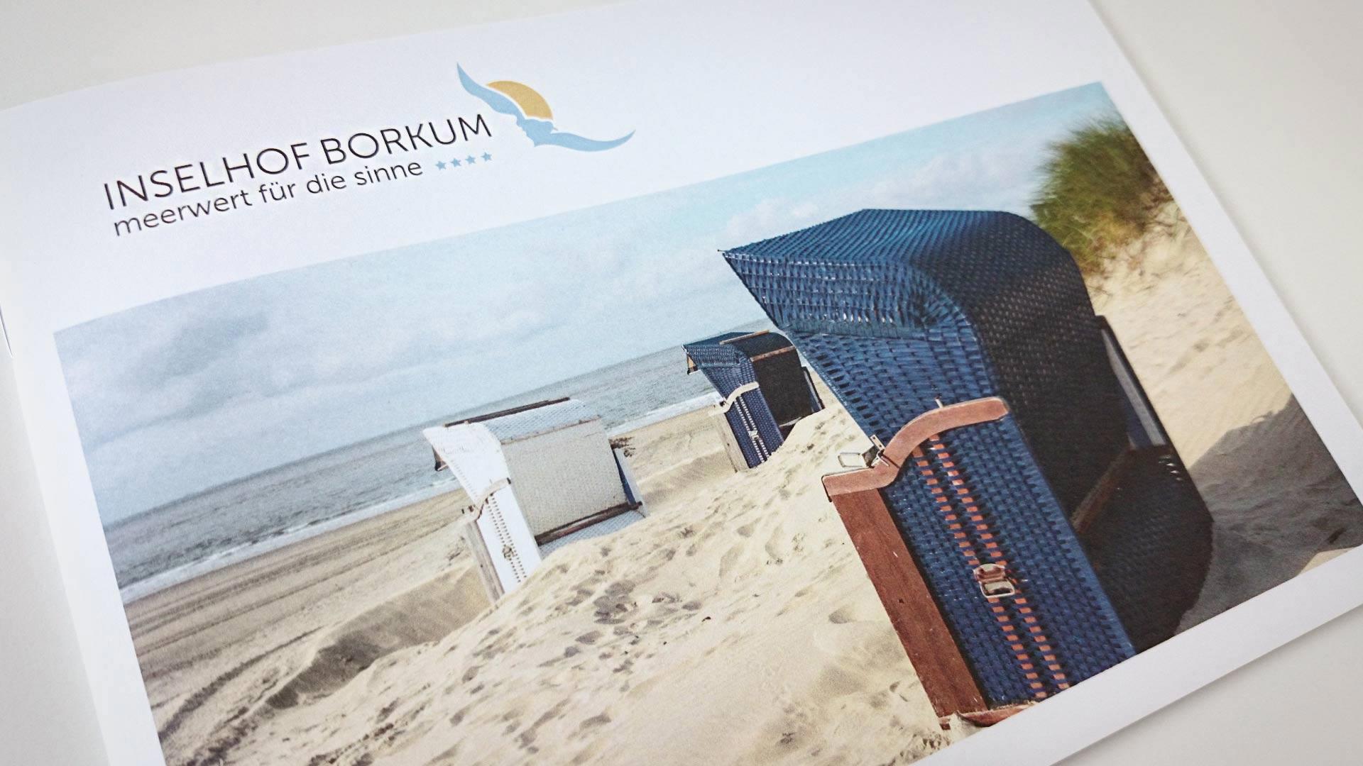 """artventura-Projekt Printdesign für das 4-Sterne-Hotel """"Inselhof Borkum"""": Titelseite der Hotel- und Imagebroschüre"""