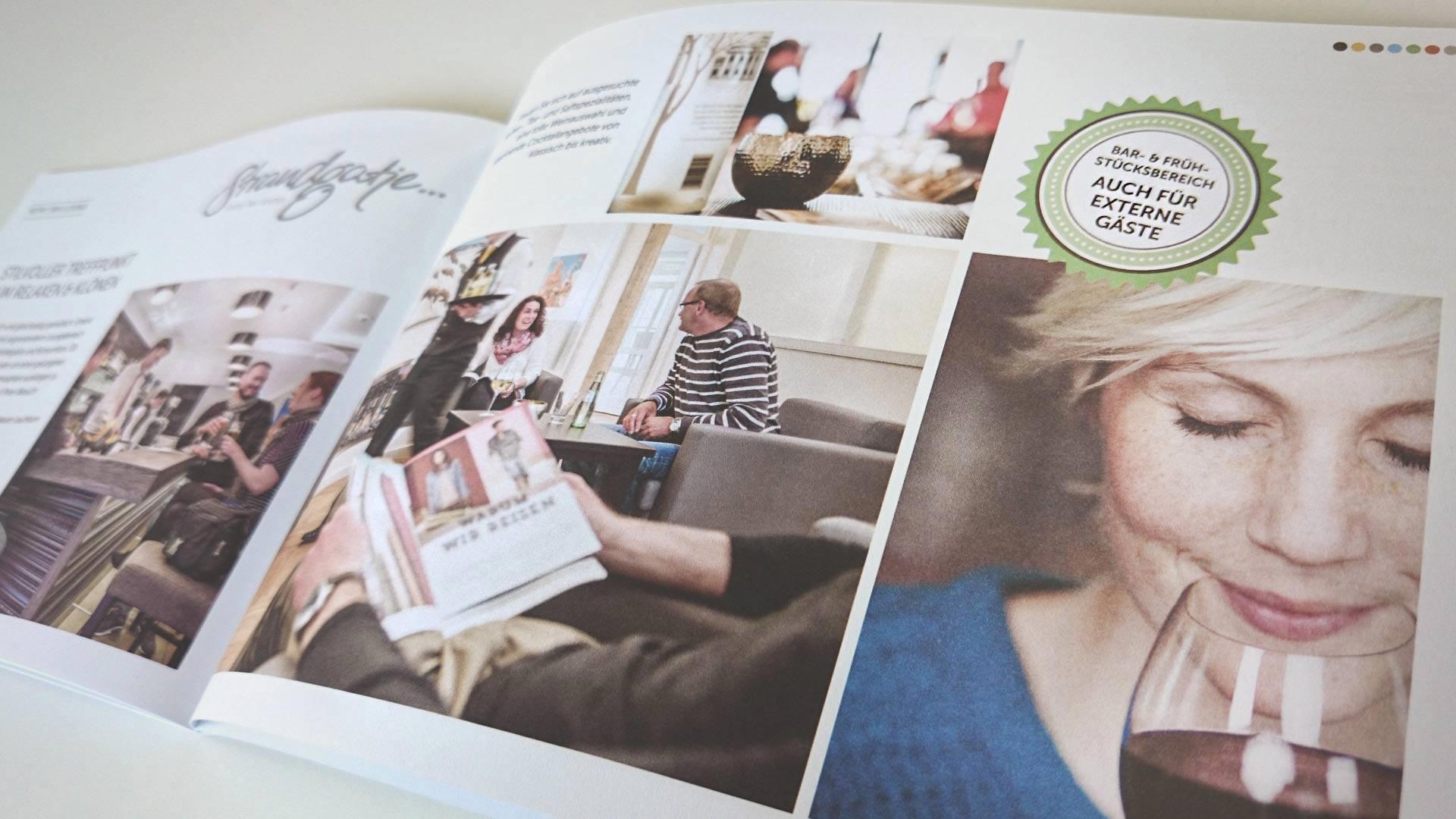 """artventura-Projekt Printdesign für das 4-Sterne-Hotel """"Inselhof Borkum"""": Doppelseite der Hotel- und Imagebroschüre"""