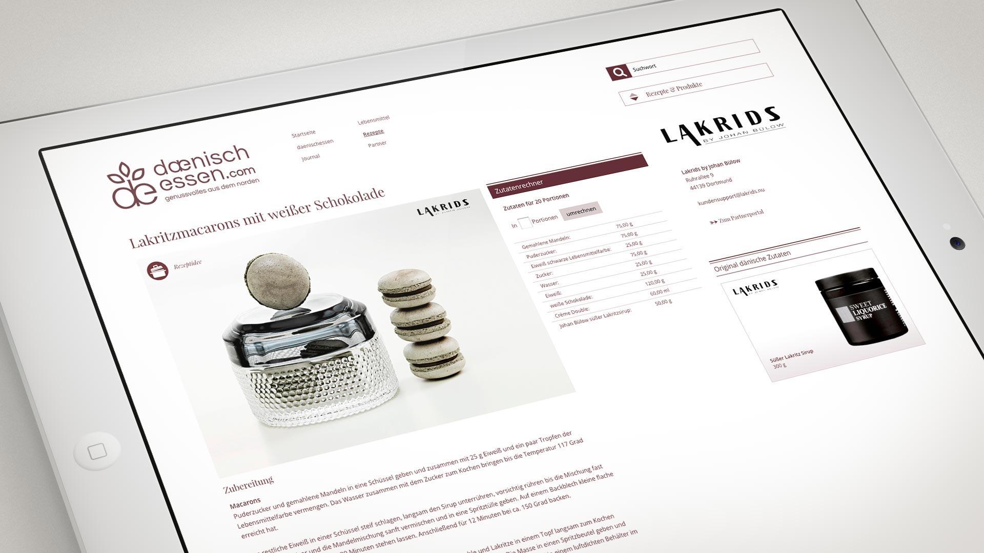artventura-Projekt daenischessen.com:Rezeptseite mit Zutatenrechner und Produkt-Tipp