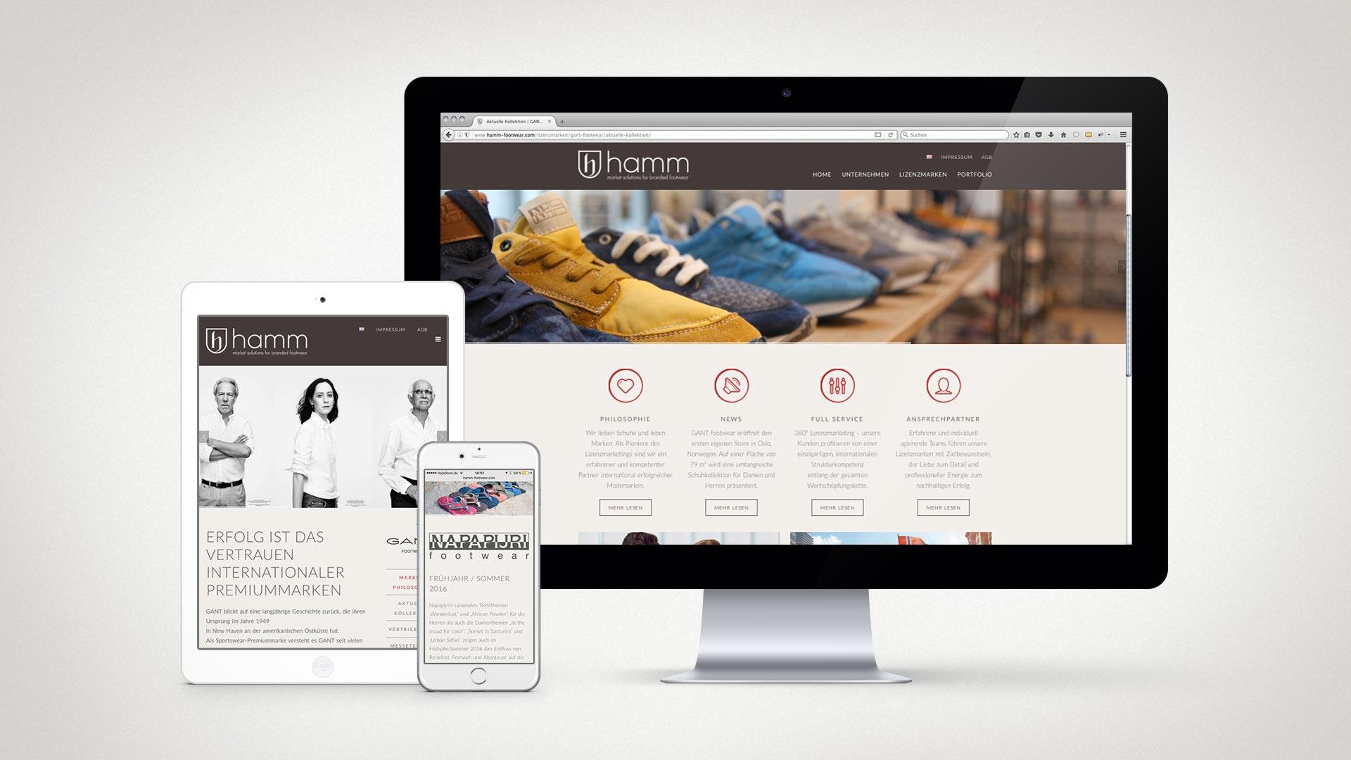artventura-Projekt Webentwicklung hamm-footwear.com: Responsive Darstellung auf Desktop, Tablet und Smartphone