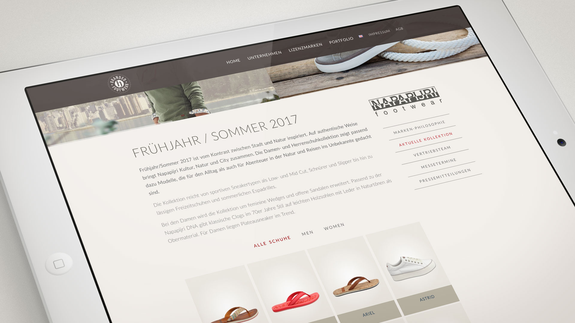 artventura-Projekt Webentwicklung hamm-footwear.com: Kollektionsübersicht der Lizenz-Marke Napapijri footwear