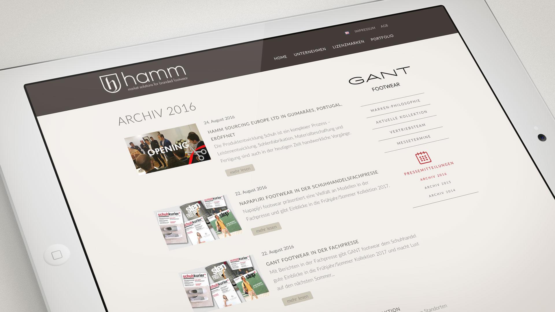artventura-Projekt Webentwicklung hamm-footwear.com: Pressearchv der Lizenz-Marke GANT footwear
