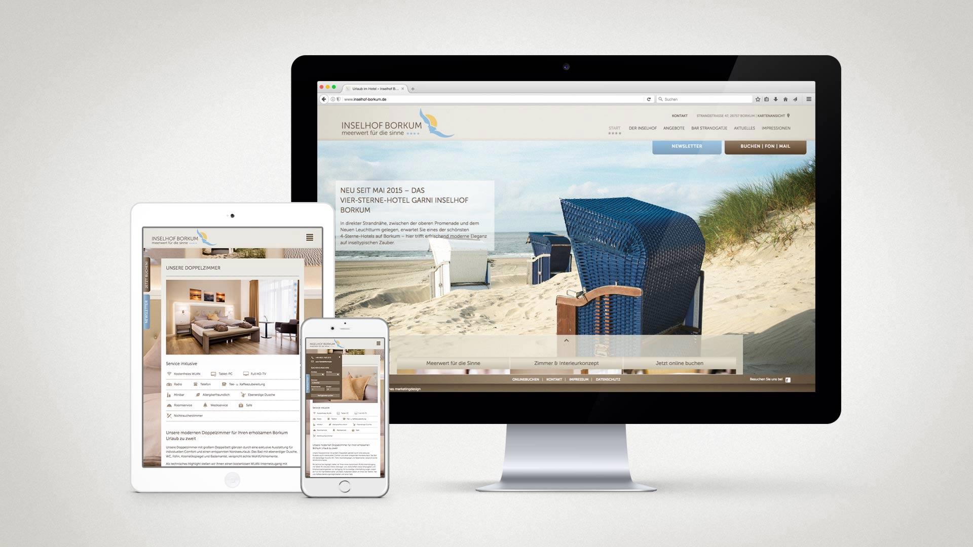 artventura-Projekt Webentwicklung inselhof-borkum.de:Responsive Darstellung auf Desktop, Tablet und Smartphone