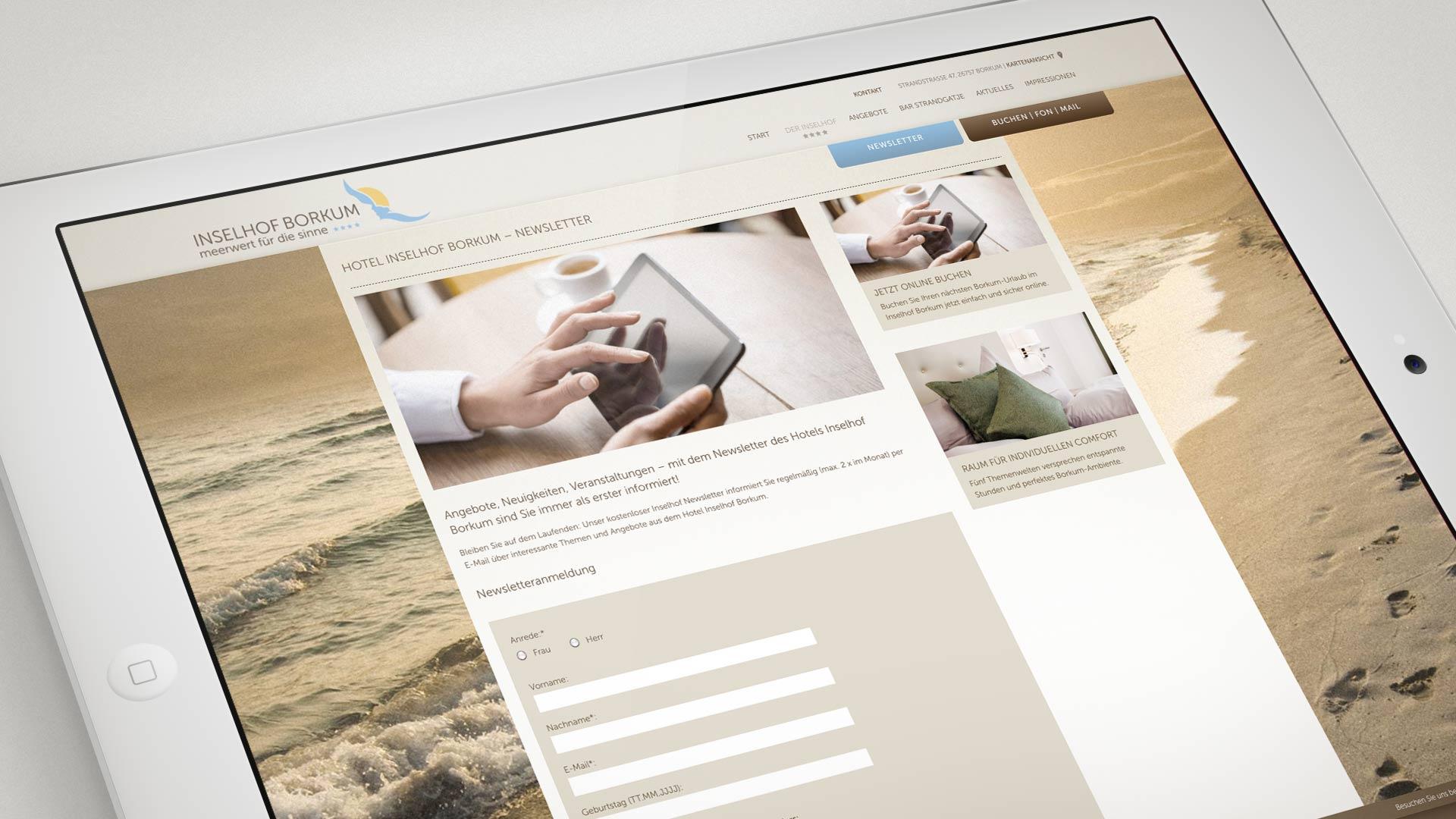 artventura-Projekt Webentwicklung inselhof-borkum.de:Darstellung der Newsletter-Anmeldung