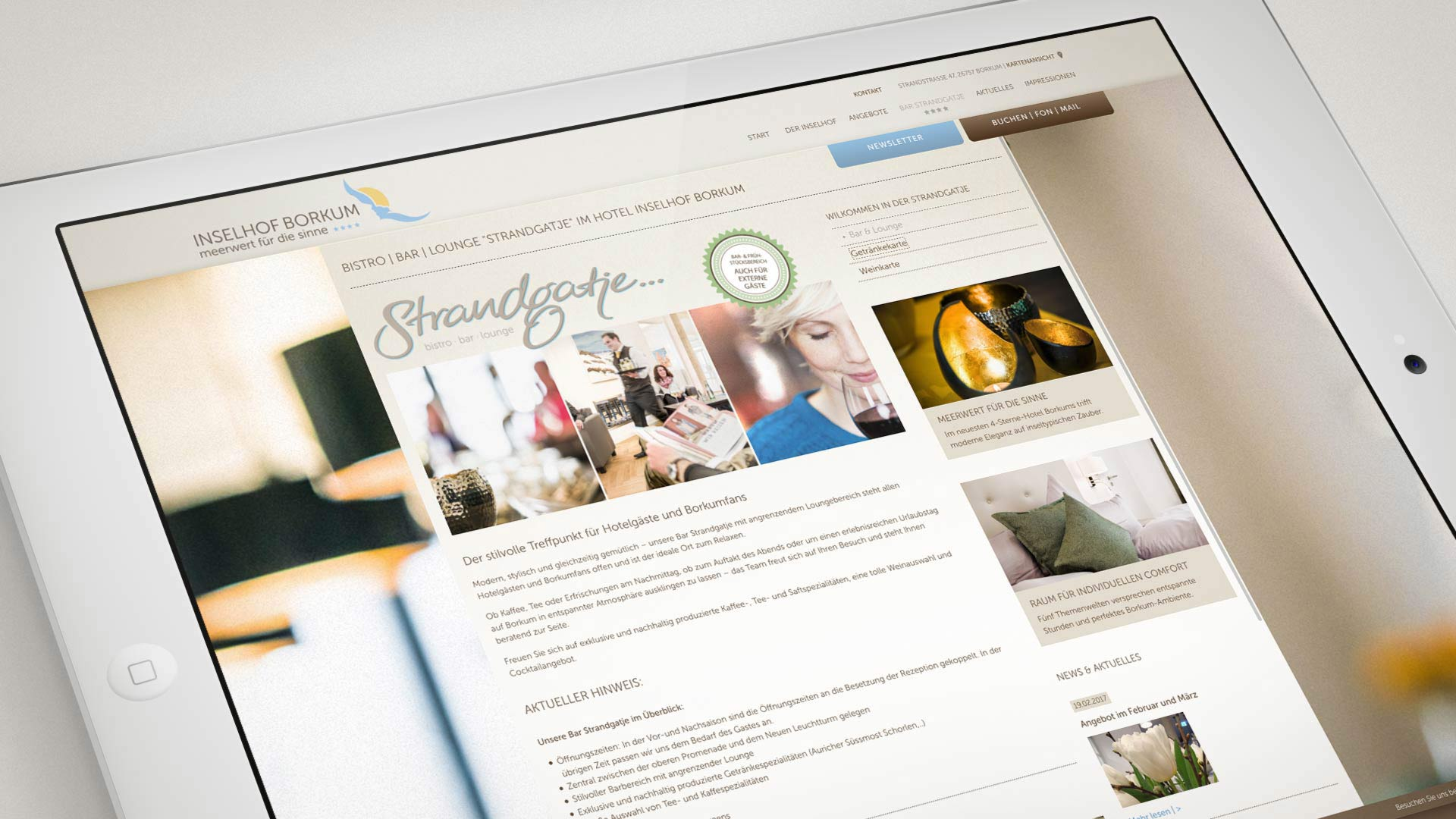 "artventura-Projekt Webentwicklung inselhof-borkum.de:Darstellung der Hotelbar ""Strandgatje"""