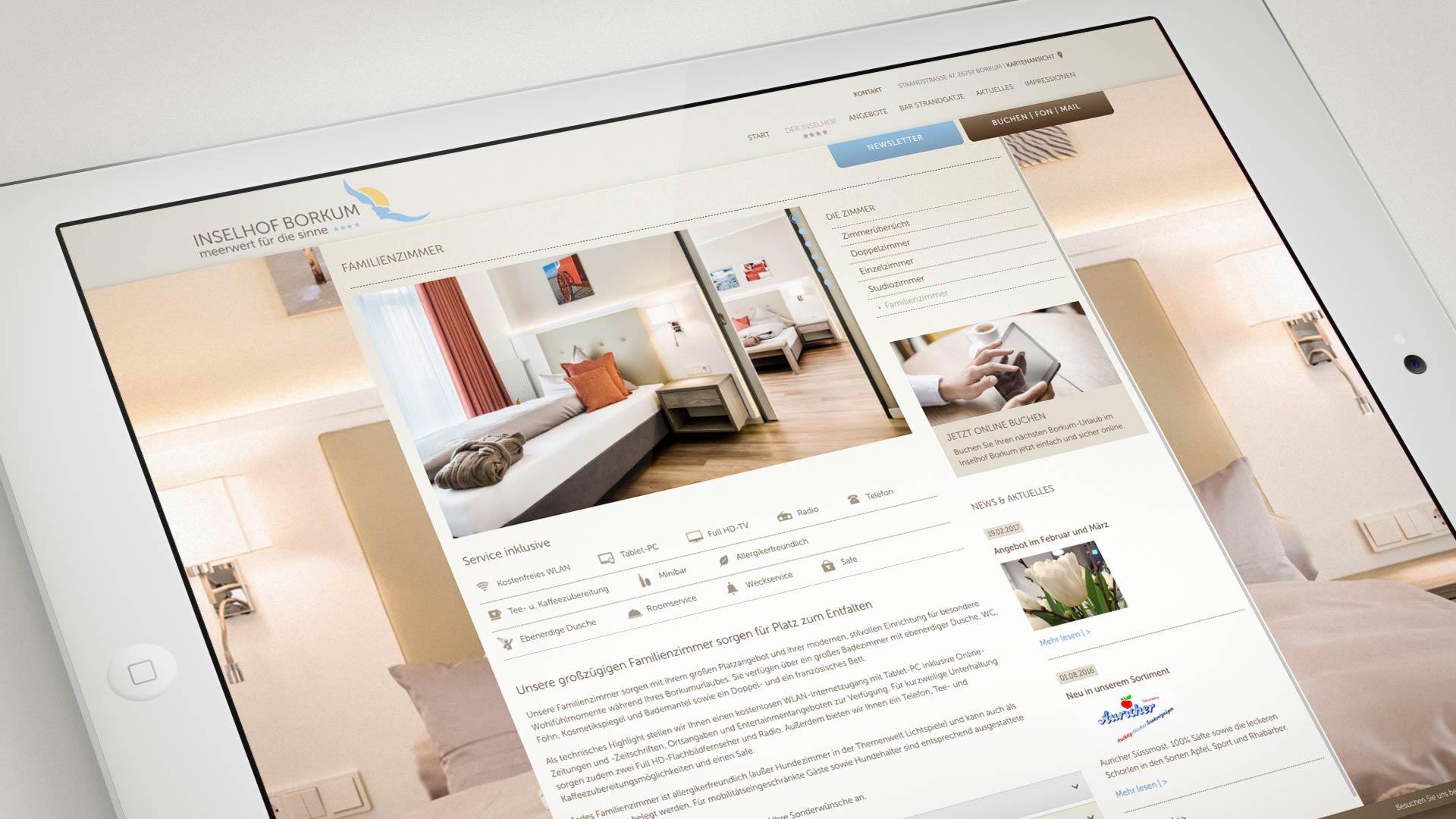 artventura-Projekt Webentwicklung inselhof-borkum.de:Darstellung der Hotelzimmer