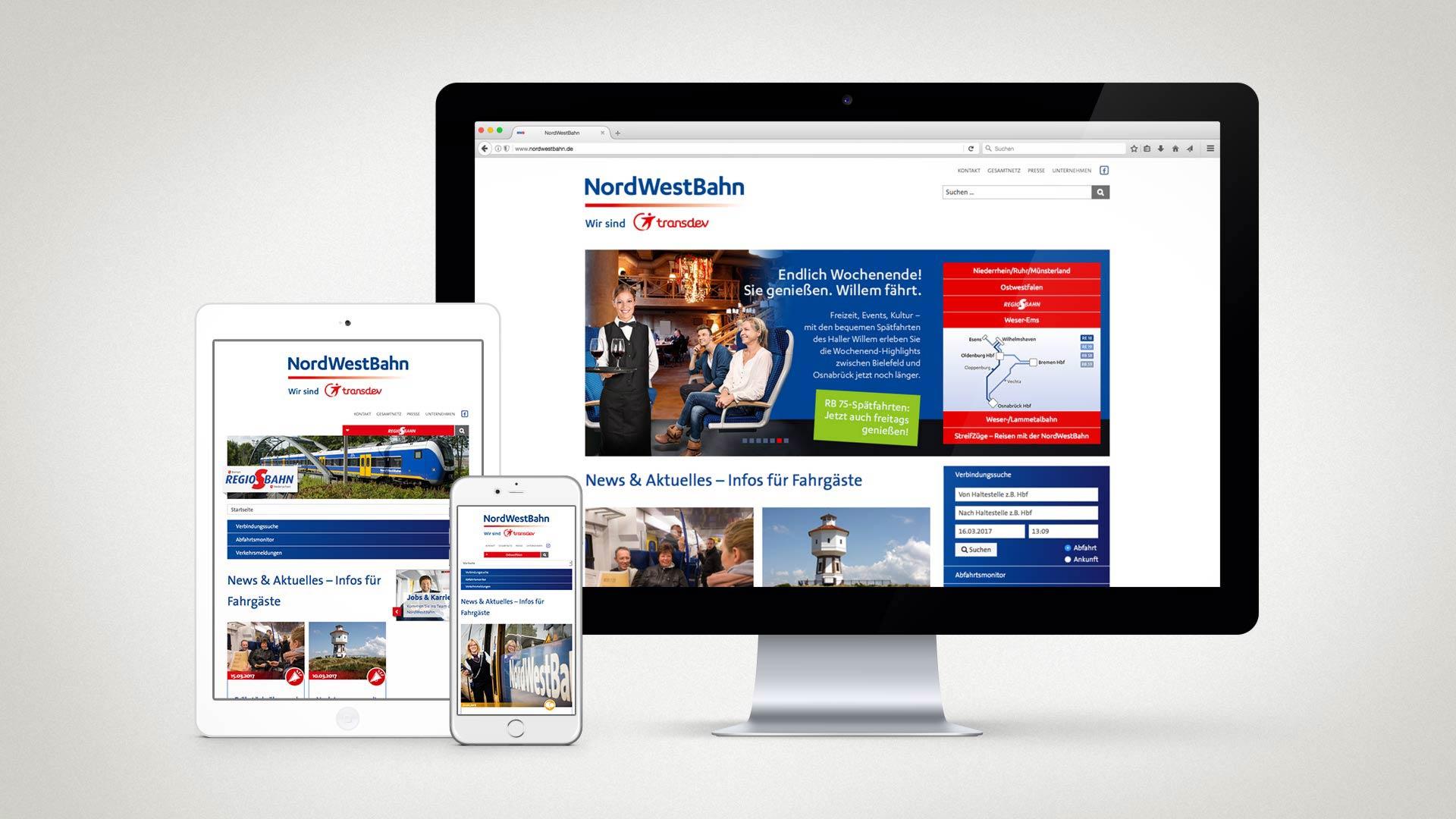 artventura-Projekt nordwestbahn.de:Responsive Darstellung auf Desktop, Tablet und Smartphone
