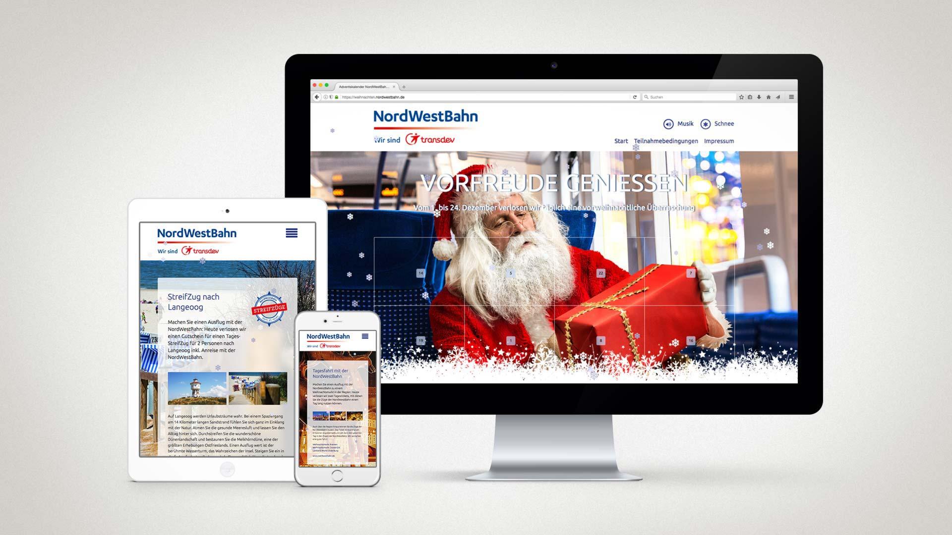 artventura-Projekt Online-Adventskalender:Responsive Ansichten von Startseite und Tagesgewinnen