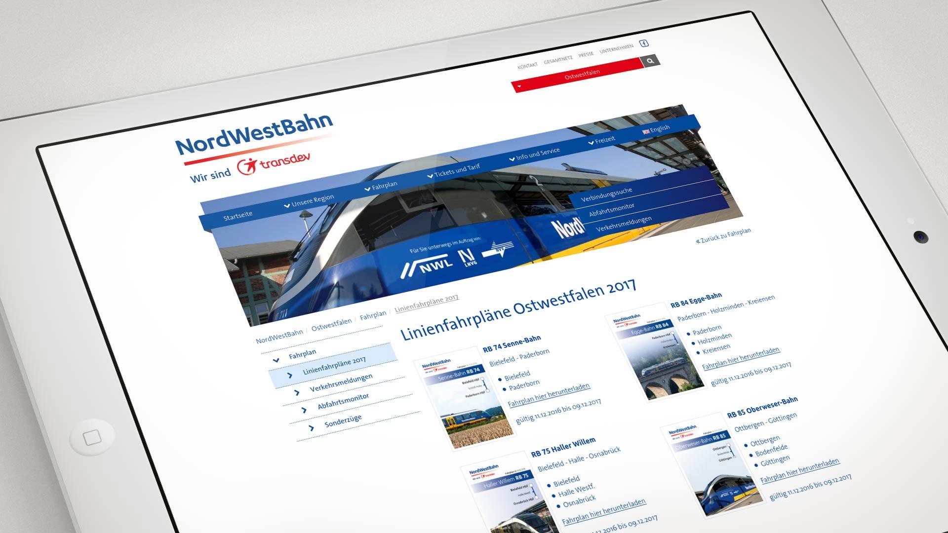 artventura-Projekt nordwestbahn.de:Übersicht der Linienfahrpläne