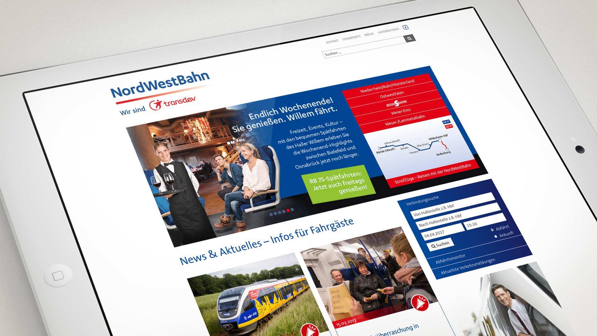 artventura-Projekt nordwestbahn.de:Responsive Startseite