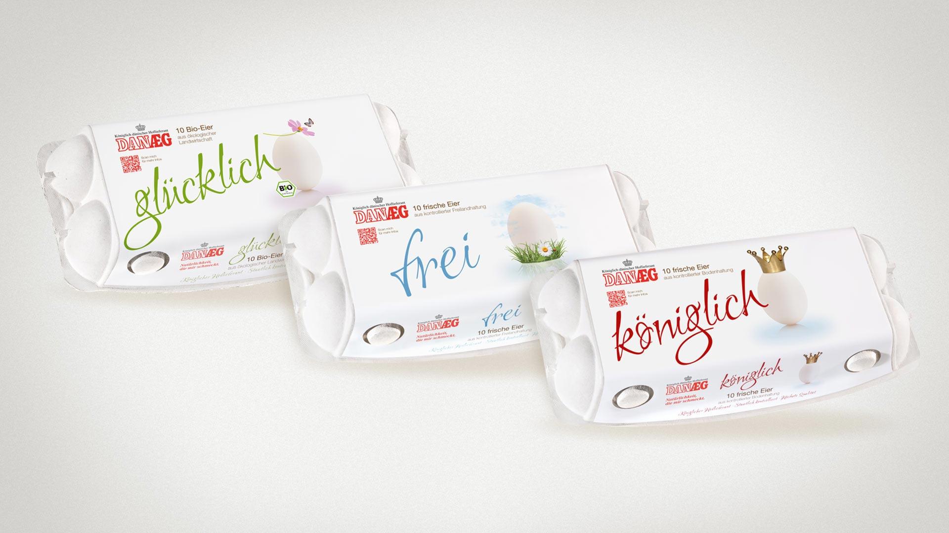 artventura-Projekt Packaging | Verpackungsdesign für DANÆG A/S:10er Verpackungen für Bio-, Freiland- und Bodenhaltung