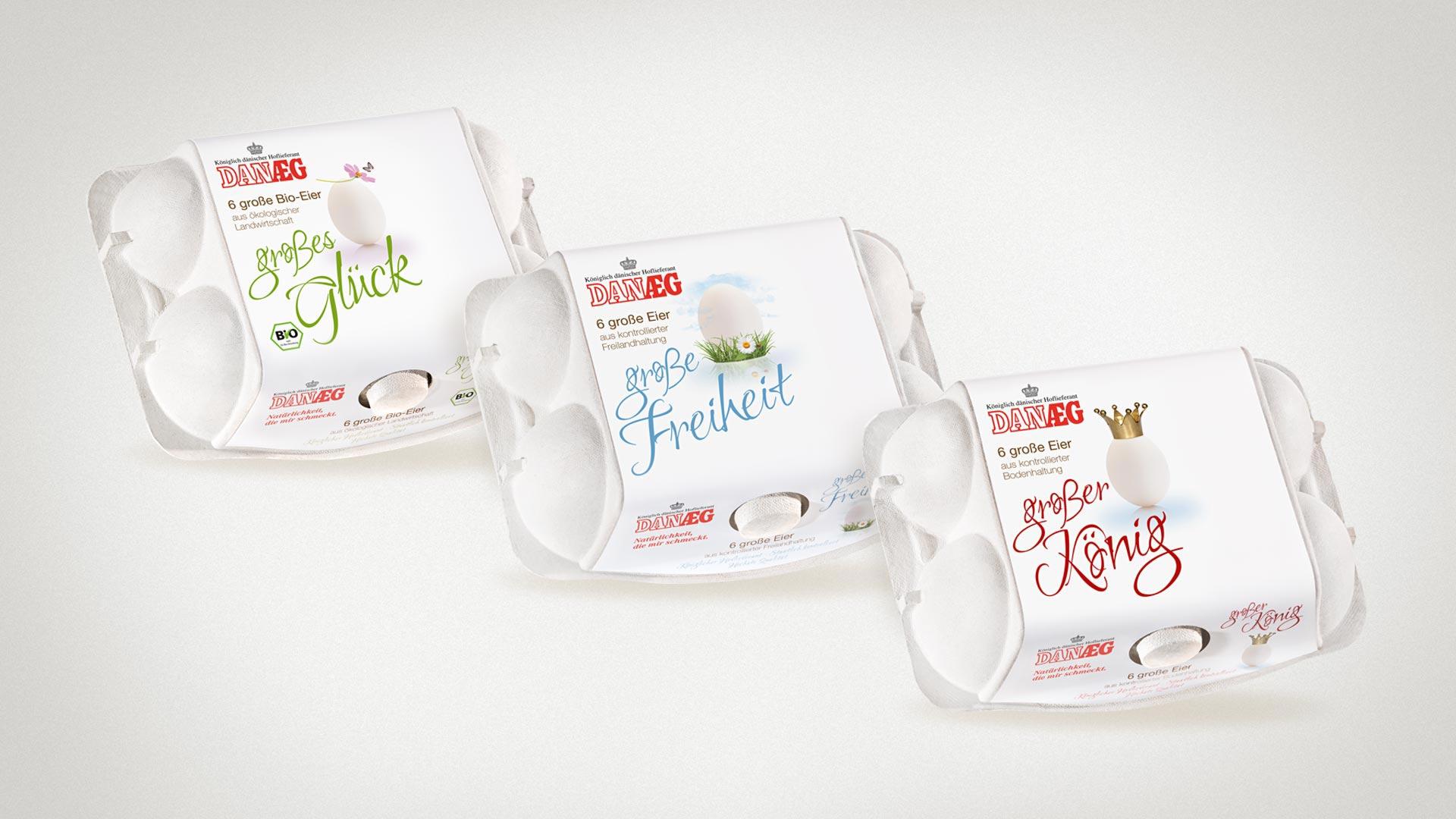 artventura-Projekt Packaging | Verpackungsdesign für DANÆG A/S:6er Verpackungen für Bio-, Freiland- und Bodenhaltung