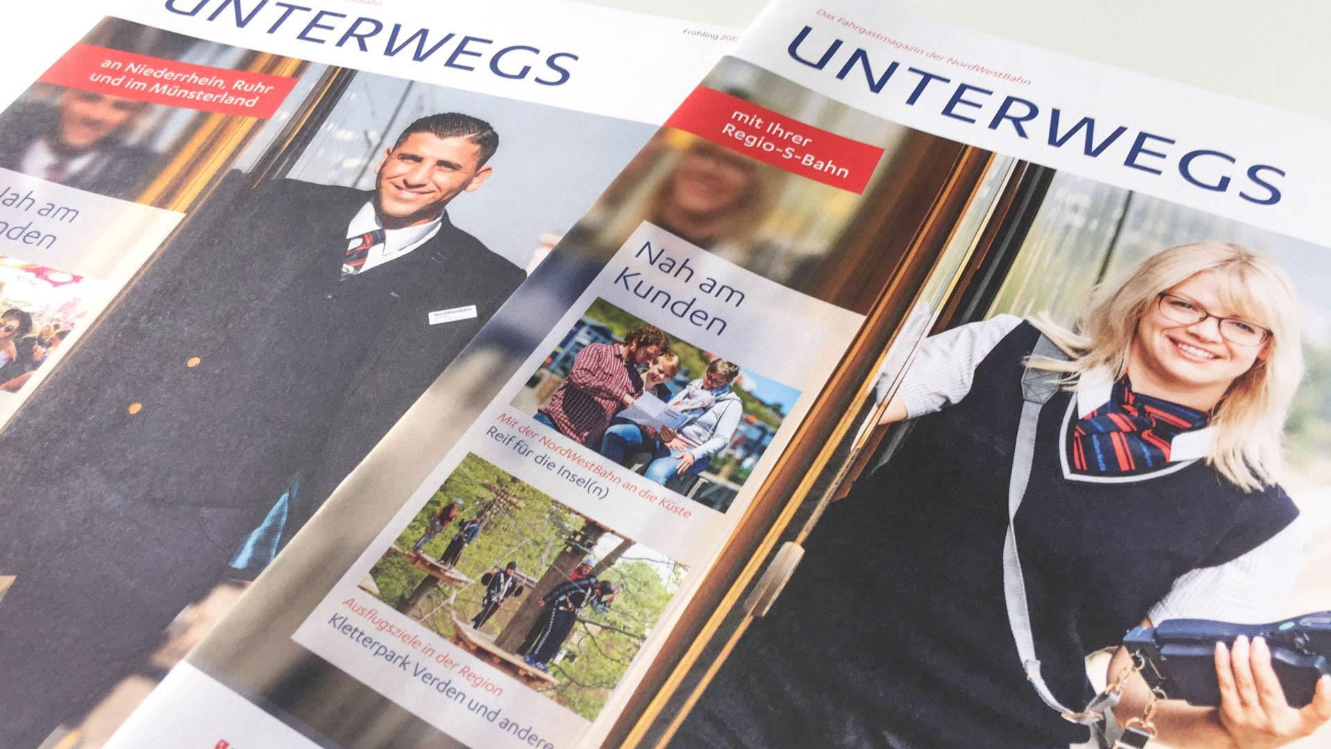 "artventura-Projekt Corporate Publishing | Kundenmagazin NordWestBahn:Titelseiten der ""Unterwegs"""
